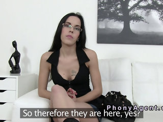 Fake agent bangs brunette in casting pov