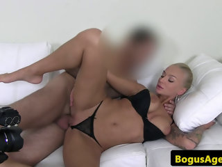 Tittyfucking euro jizzed on by agents cock