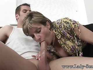 Lady Sonia - Big white cock sucked & jerked off