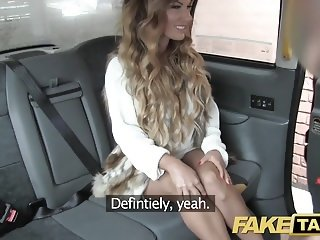 Fake Taxi creampie for rimming tanned babe with tiny pussy