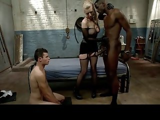White slut makes chastity cuck suck huge BBC and cleanup