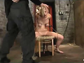 Bound in chair blonde throat fucked and clit vibed