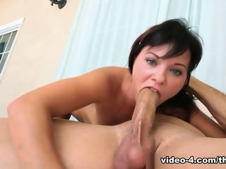 Stunning brunette gal giving throat fuck blowjob