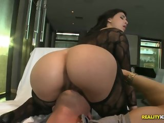 Spicy brunette English youthful girl Valerie Kay in very hot hardcore video