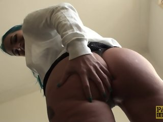 Ass fingered english alternative bird in threesome