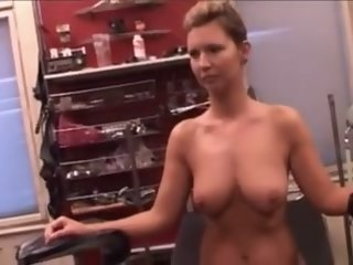 Tits squashed  nipples and pussy pumped