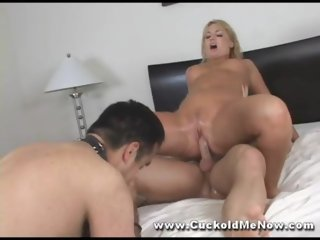 Cuckold watches milf wife fuck movie