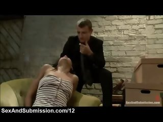 Nice ass babe spanked and whipped in the office
