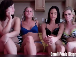 Four girls laughing at your small penis