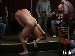 Busty porn star slut bound with ropes for a party