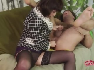 Nasty femdom stockings hoe uses strapon