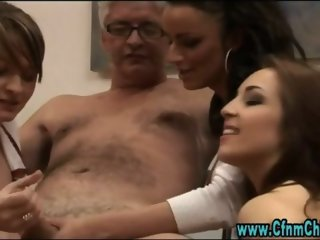 British cfnm european fetish bitches jerk a geezer