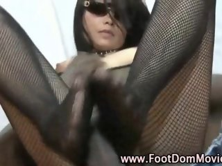 Interracial Footjob fetish domina in stockings
