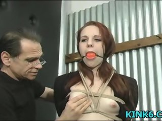 Whore bound and terrified by a raunchy demented master