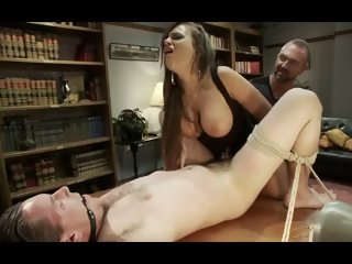 Mistress fucks her cuckold husband with a strapon