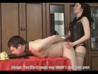 Hot Russian Mistress Dominates Man Slave's Asshole