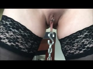Chained wet pussylips
