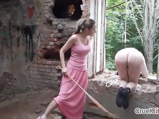 Whipping Slave's Naked Ass While He Keeps Count!