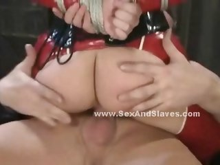Sex slave sitting on her knees tied and begging to suck her