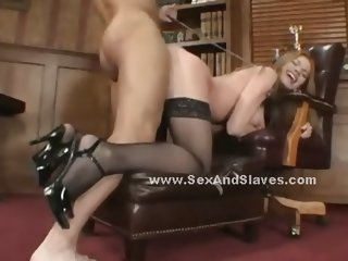 Redhead with huge boobs choking in brutal deepthroat and