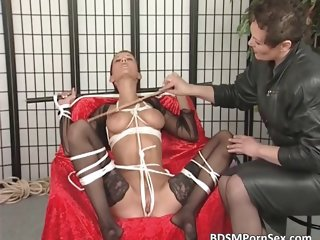 Hot short haired brunette gets tied part2