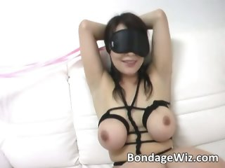 Sweet Asian chick in ropes enjoying part3