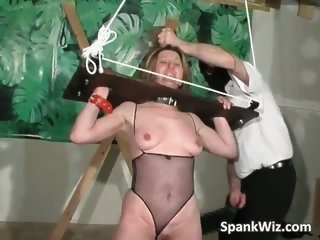 Tied helpless slut gets her big butt part5