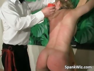 Slutty tied blonde gets her hot butt part1