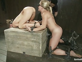 Sexy, fit bondage slaves interlocked, machine fucked and pussy smothered