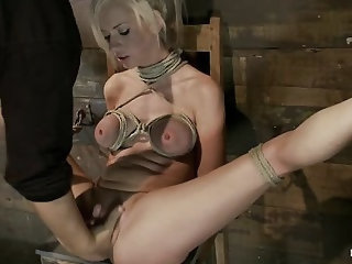 Sexy blond with pig tails, braces & big titsAbused made to cum with vibrator & fingers, Helpless