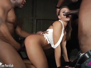 Adriana Chechik snatched and group fucked by black dudes