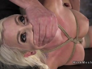 Hogtied blonde caned and cunt rubbed