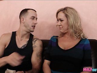 Smoking Blonde Mom gets a Long Dick