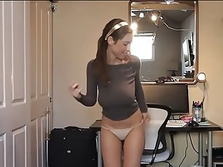 Teen In Brown Sweater Shakes Her Delicious Tits On Camera