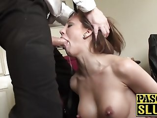 Milf slut in heat gets her pretty face slapped real hard