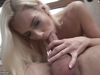 Throbbing cock crams deep into a blonde hottie