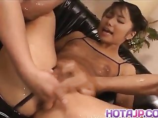 Oiled amateur finger fucked