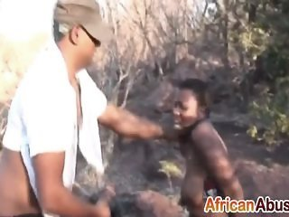 African slut gets caught while trespassing and her way out is to fuck the police patrol for her freedom