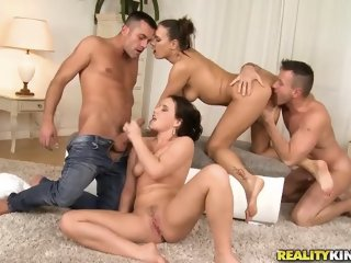 Large natural tits porn video featuring Mea Melone, Wendy Moon and Renato