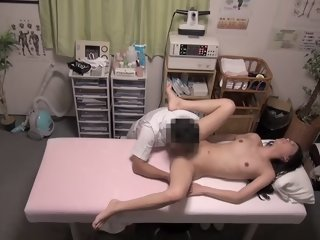 Wonderful girl gets a massage right in the clinic