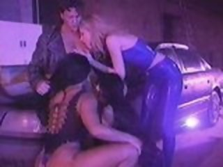 3 chicks in blue Latex fuck one guy